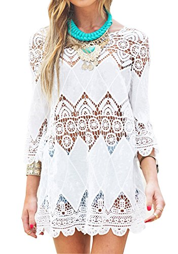 Wander Agio Beach Swimsuit For Women Sleeve Coverups Lace Bikini Cover Up White Diamond Hollow Out Xs S