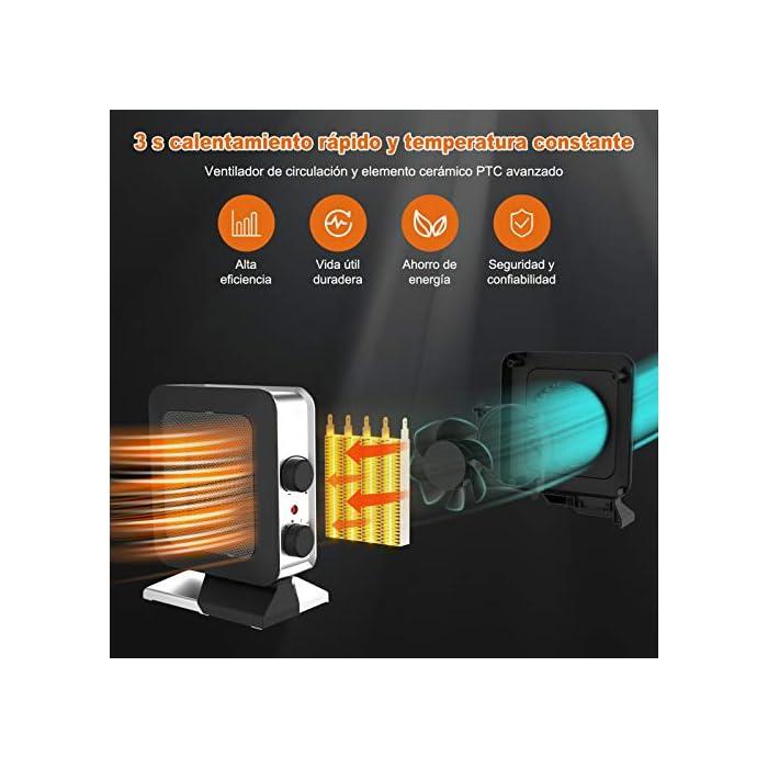 51kX1%2B%2BmWiL 1,Red densa exquisita mejorada. El calefactor ceramico bajo consumo VPCOK ha creado recientemente una red densa exquisita mejorada. Cuando la temperatura sube al máximo, la red densa no se enrojecerá ni se calienta; un termostato incorporado, una vez que la temperatura alcanza su nivel, la calefactor de aire caliente de funcionar automáticamente a la temperatura establecida. 2,Mango portátil. La manija portátil está ubicada en la parte posterior del calefactor bajo consumo baño, por lo que es conveniente moverlo a cualquier lugar que desee, como escritorios, oficinas, dormitorios, etc., grandes salidas de aire y ventilaciones de enfriamiento para garantizar la eficiencia de la calefacción; hermosa apariencia en cada esquina. Son suaves y protegen cualquier parte de tu cuerpo. 3,Tres modos. Interruptor en espiral, puede elegir entre tres modos, puede elegir soplar solo sin calor, baja salida de calor (700W (estándar europeo)) o alta salida de calor (1400W (estándar europeo)), durante todo el año. La sensación más cómoda, fácil de girar el interruptor, estará en su lugar con un giro, operación simple y cambio conveniente.