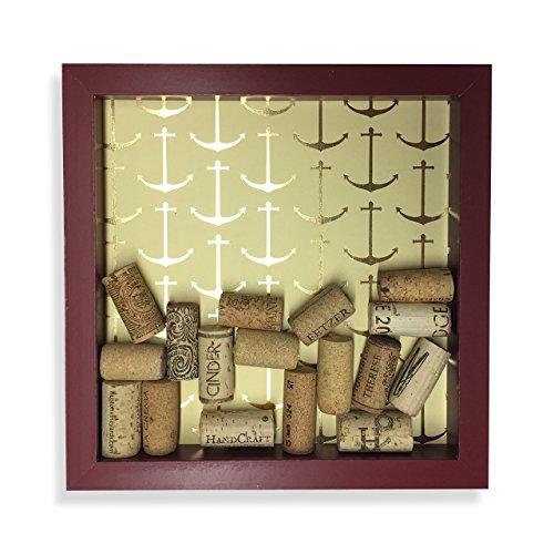 Nautical Shadow Box - Nautical Wine Cork Shadow Box, Anchor Theme, Red & Gold, 9 7/8