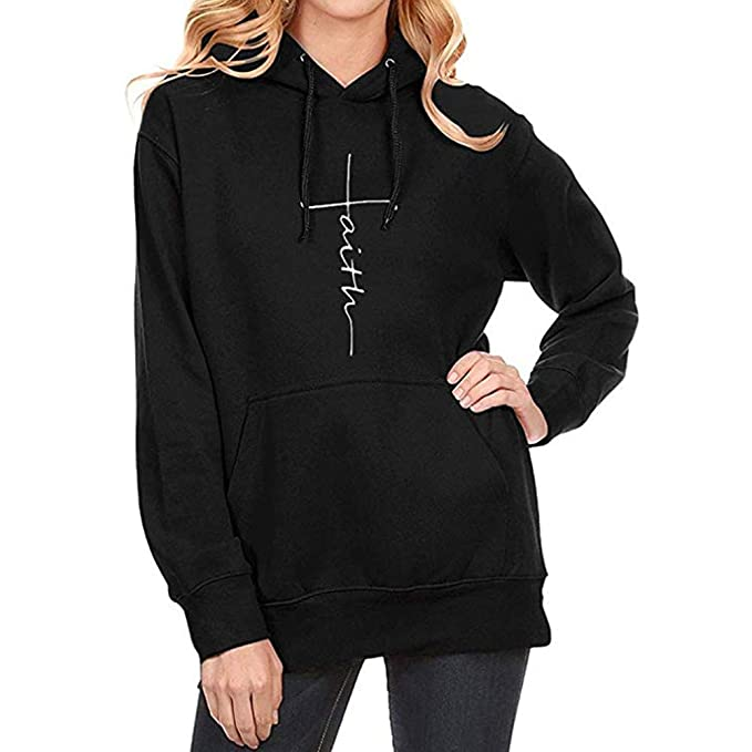 colifas Women Faith Hoodies Cotton Tshirts Long Sleeve