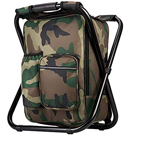 Bright starl Upgraded Large Size 3 in1 Multifunction Fishing Backpack Chair, Portable Hiking Camouflage Camping Stool, Folding Cooler Insulated Picnic Bag Backpack Stool