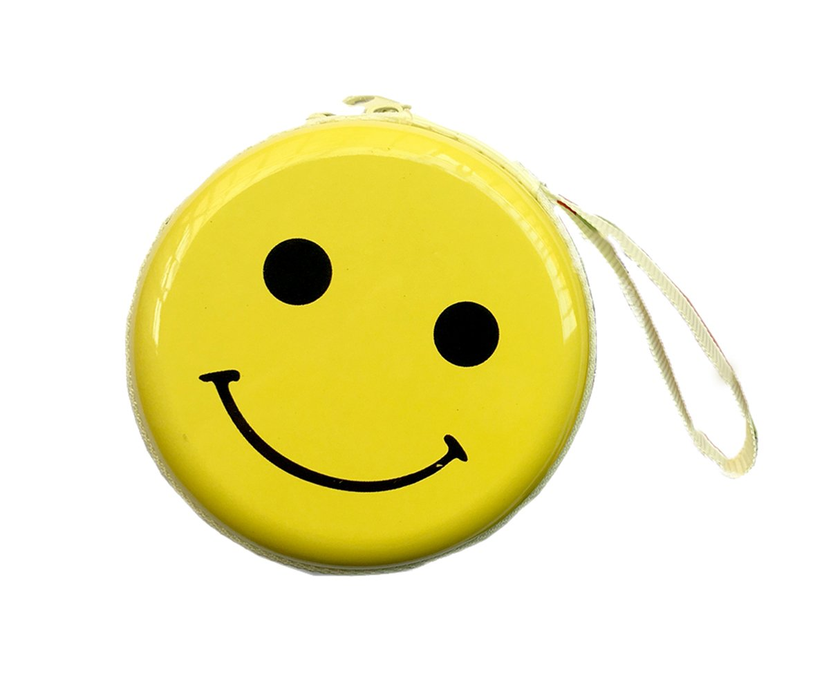 1 Pcs Funny Cute Coin Steel Case Change Wallet with Hand Rope Great Gift for Children(Smile Emoji Case) Mailesi