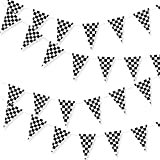 100 Foot Long Race Track Car Finish Line Black and White Plastic Pennant Party Checker Pattern String Curtain Banner for Decorations, Birthdays, Event Supplies, Festivals, Children & Adults
