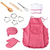 Funslane Chef Set for Kids Cooking Play Set with Apron for Girls, Chef Hat, and Other Accessories for Toddler Career Role Play Children Pretend Play 11 Pcs Great Gift