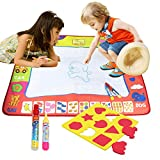 LEADSTAR Aqua Doodle mat,Water Doodle Mat Water Drawing Painting Pad with 2 Magic Water Pens & 9 Molds, Mess Free Drawing Fun for Children ages 2+ Years Old, Kids Educational Toy Gift (M, 31.4in x 23.6in)