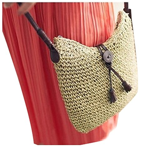 Ilishop Women's Crochet Summer Beach Bag Handmade Straw Tote Handbag (Beige)
