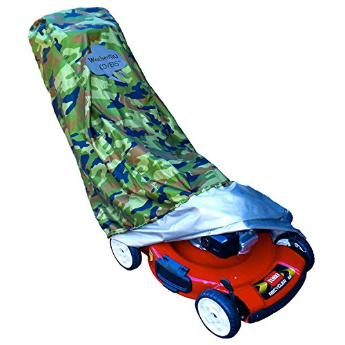- Lawn Mower Cover - Waterproof, Premium Heavy Duty CAMO Style - Manufacturer Guaranteed - Weather and UV Protected Covering for Push Mowers - Secure Draw String and Large Size for Universal Fit