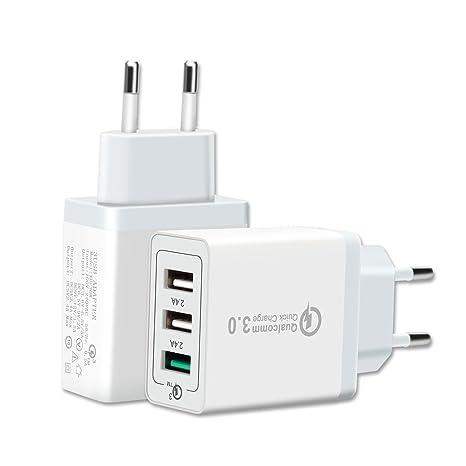 Cargador USB Multiple Qualcomm Quick Charge 3.0 - Enchufe Cargador USB Rápido de Pared - Cargador USB Red Inteligente - Cargador Móvil Carga Rápida ...