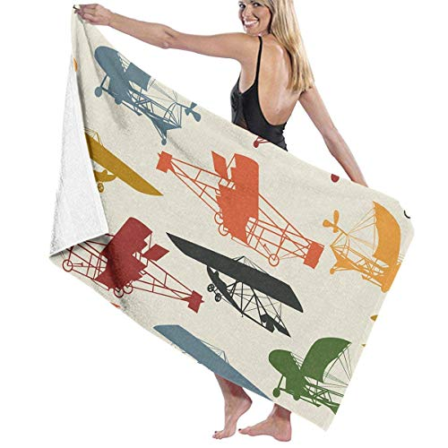 Jearvy Free Vintage Airplane Clipart Adult Microfiber Beach Towel Large 31x51 Inch Fast Dry Highly Absorbent Multipurpose Use Pool Towel for Women Men
