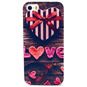 LUOLNH Love Bow Wood Pattern Clear TPU Silicone Gel Back Cover Skin Soft Case for iPhone 5C by supermalls