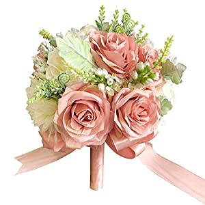 "Abbie Home 9"" Bride Bouquet - Dusty Pink Silk Roses White Dahlia Real Touch Wedding Flower for Bride 77"
