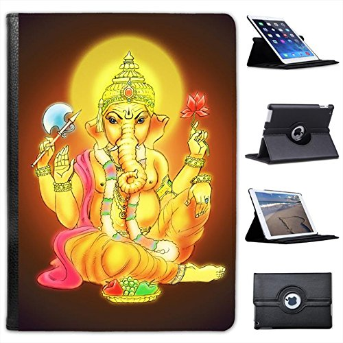 Hindu God Ganesh Holding Flower Wearing Garland For Apple iPad Air 2 [2014 Version] Faux Leather Folio Presenter Case Cover Bag with Stand - Leather Garland