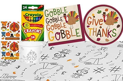 TLP Online Thanksgiving Kids Tablecloth Coloring and Activity Party Supply Pack: Bundle Includes Paper Plates, Napkins, Treat Cups with Stickers, Crayola Crayons, and a Paper Activity Table Cover -