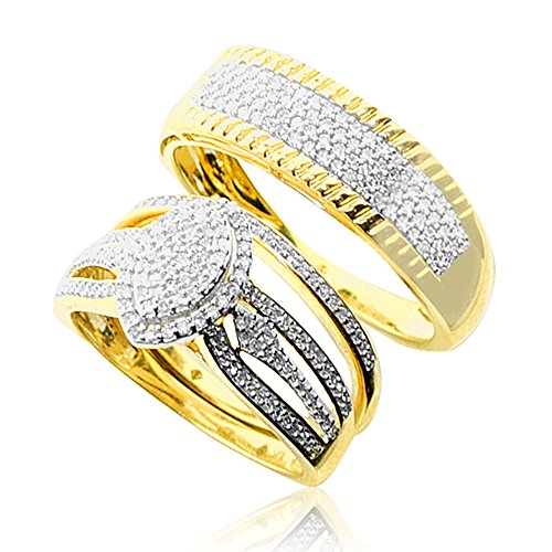 10k Gold His and Her Rings Set Wide 1/2ctw Diamonds