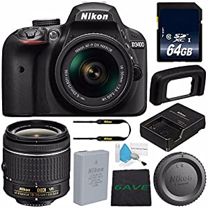 Nikon D3400 DSLR Camera with AF-P 18-55mm VR Lens (Black) 1571 International Model + 64GB SDXC Class 10 Memory Card + Deluxe Cleaning Kit + MicroFiber Cloth Bundle