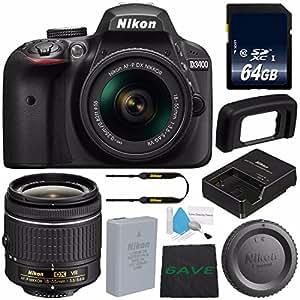 Nikon D3400 DSLR Camera with AF-P 18-55mm VR Lens (Black) 1571 International Model + 64GB SDXC Class 10 Memory Card + Deluxe Cleaning Kit + MicroFiber Cloth Bundle