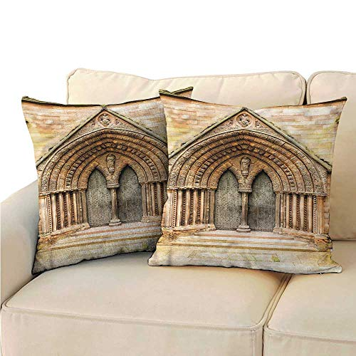 (WinfreyDecor Rustic Personalized Pillowcase Medieval Cathedral Door Cushion W19 x L19)