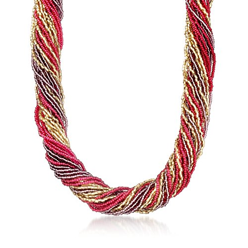 Ross-Simons Italian Red and Purple Murano Glass Bead Torsade Necklace With 18kt Gold Over Sterling