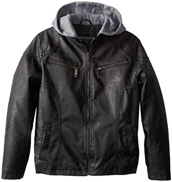 Urban Republic Big Boys' Garment Dyed Faux Leather Jacket with Hood and Perforated Details, Black, 8
