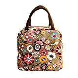 Lunch Handbag Among Thermal Insulated Tote Picnic Cool Canvas Bag Cooler Pouch Waterproof Zipper Boxes (Khaki)