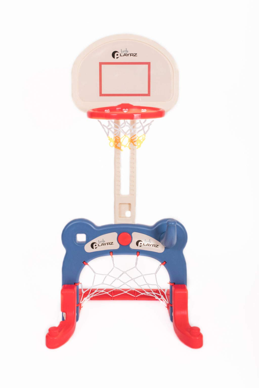 Kids 3-in-1 Sports Center: Basketball Hoop, Soccer Goal, Ring Toss Playset by Playrz