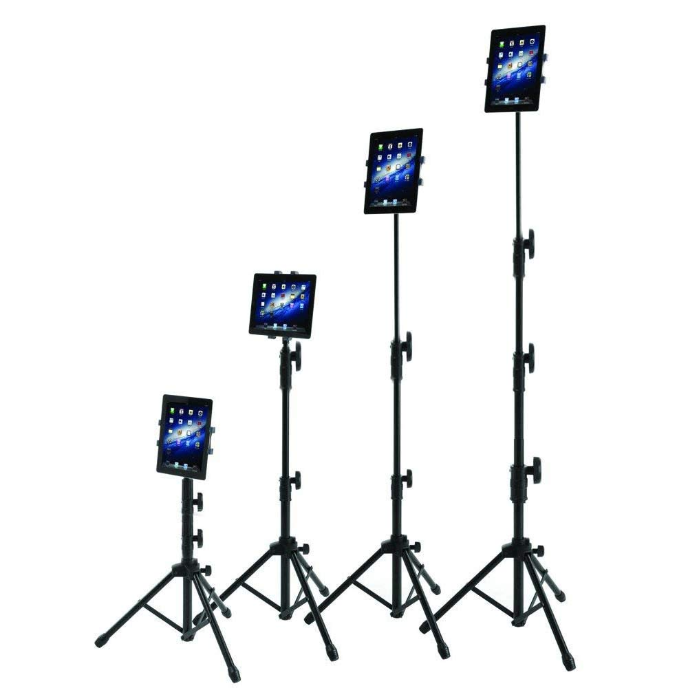 IPad Tripod Stand, Raking Foldable Floor Height Adjustable Tablet Tripod Stand for iPad Mini, iPad Air, iPad 1,2,3,4 and All 7-10 Inch Tablets, Carrying Case and Flashlight as Gifts by Raking