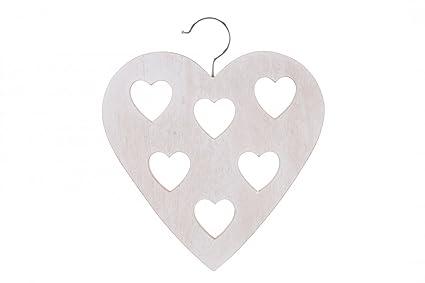 WOODEN SHABBY CHIC HEART SCARF HANGER SCARVES WARDROBE HEARTS