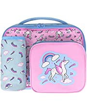 Kids Lunch Bag voor meisjes met flessenhouder, kinderen eenhoorn lunchbox met 3 compartimenten - thermisch geïsoleerde koeltas voor school peuter kinderkamer reizen snacks drager -roze