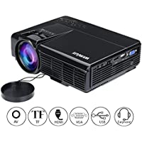 WIMIUS T3 1200 Lumens 100 inch LED Video Projector Mini Home Theater Projector 1080p iPhone iPad HD HDMI VGA USB AV Portable LCD Projector-Classic Black
