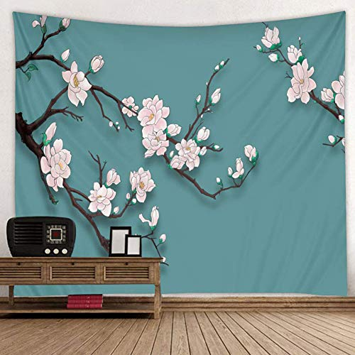 BROSHAN Nature Flower Tapestry, Asian Japanese Cherry Blossom Flower Tree Branch Print on Teal Green Backdrop Fabric Wall Hanging for Bedroom Living Room Dorm,1 Panel, Cyan, 60