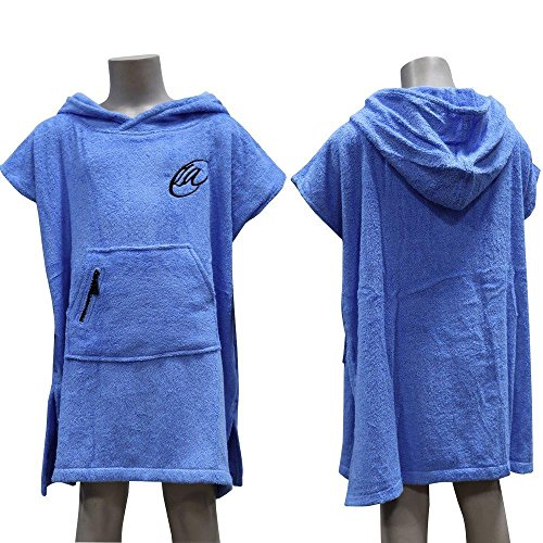 Lightahead Cotton Surf Beach Hooded Poncho Changing Bath Robe Towel with Pocket (Blue) (Teens)