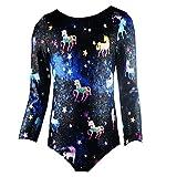 Funny Leotards for Grils Gymnastic Tumblewear 8t 9t 3/4 Long Sleeve Unicorn One-Piece Big Girls Gymnastics Apparel Quick Dry Kids Athletic Swimwear Black