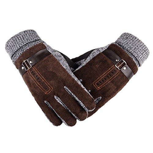 Heekpek Men's Winter Leather Gloves Thick Warm Fleece Windproof Gloves Cold...