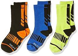 Stride Rite Little Boys\' 3pk Athletic Comfort Seam Crew, Black, 8-9.5 (Shoe Size 13-4)