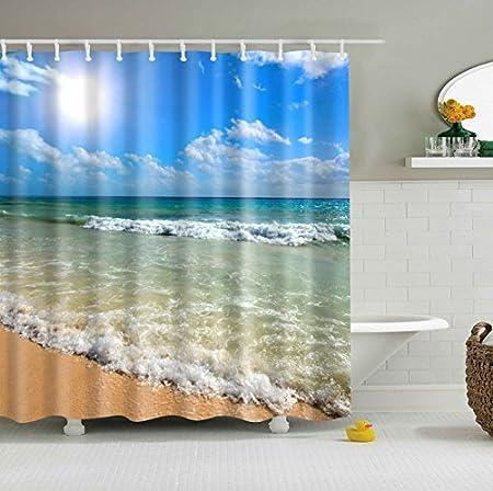 disponibile indiversi motivi tenda per doccia con stampa digitale 180 x 200 cm conganci Beach #2 JameStyle26 antimuffa