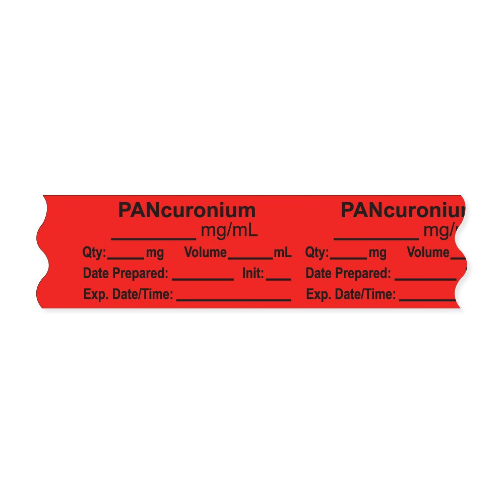 PDC Healthcare AN-2-18 Anesthesia Tape with Exp. Date, Time, and Initial, Removable,PANcuronium mg/mL, 1'' Core, 3/4'' x 500'', 333 Imprints, 500 Inches per Roll, Fl. Red (Pack of 500)
