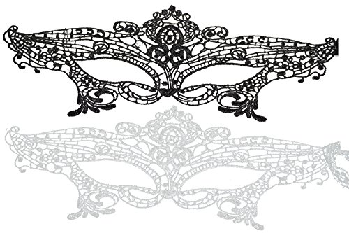 Combination Costumes (Bilipala Lace Eye Mask for Masquerade, Black and White Combination Lace Eye Mask for Women)