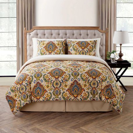 8 Piece Damask Comforter Full Set All Over Bohemian