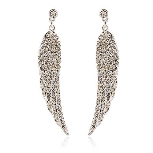 Women Angel Wings Rhinestone Ear Stud Dangle Earrings Jewelry - 8