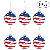 #1: LUOEM Patriotic Ball Ornaments July of 4th Ball Hanging Independence Day Party Decor Holiday Wedding Tree Decorations 6pcs