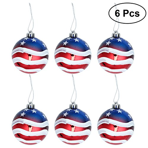 LUOEM Patriotic Ball Ornaments July of 4th Ball Hanging Independence Day Party Decor Holiday Wedding Tree Decorations 6pcs -