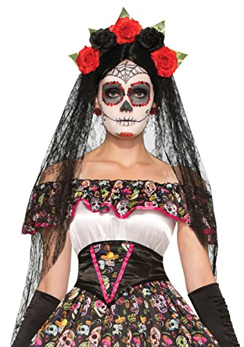 Day of The Dead Headband-Veil Set ()