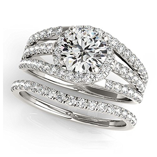 14K White Gold Unique Wedding Diamond Bridal Set Style MT50846