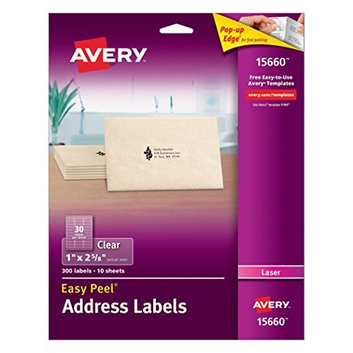 - Avery Easy Peel Clear Address Labels for Laser Printers, 1 x 2.625, 2 PK (15660)
