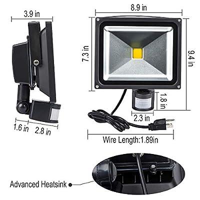 Led Motion Sensor Flood Lights Outdoor,30W 2400LM PIR Induction Lamp,IP65 Waterproof Security Lights,240W Bulb Equivalent,6500K Spotlight with US 3-Plug