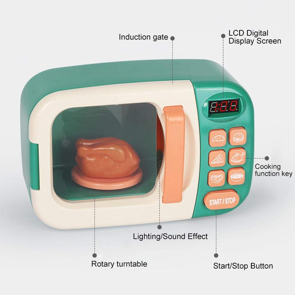Microwave Toy with Lights and Sounds for Kids Toddlers Boys Girls Birthday Christmas Party Gift Ages 3 and Older Ceepko Kitchen Cooking Simulation Role Pretend Play Fake Food