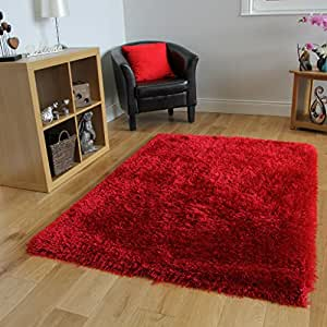 Alfombra shaggy roja pelo brillante textura blanda 7 for Alfombras comedor amazon