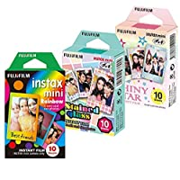 Fujifilm Instax Mini Film Rainbow - Staind Glass - Shiny Star Film -10 Hojas X 3 Surtido (productos originales de Taketori Store con instrucciones)