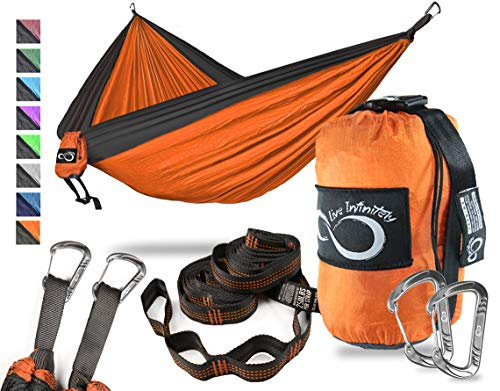 Double Camping Hammock- Best Lightweight & Portable Two Person Hammock Set –Aluminum Wiregate Carabiners, 2- 16 Loop Tree Straps & Compression Strap- Holds 500 LBS -Ideal for Travel- Orange Middle