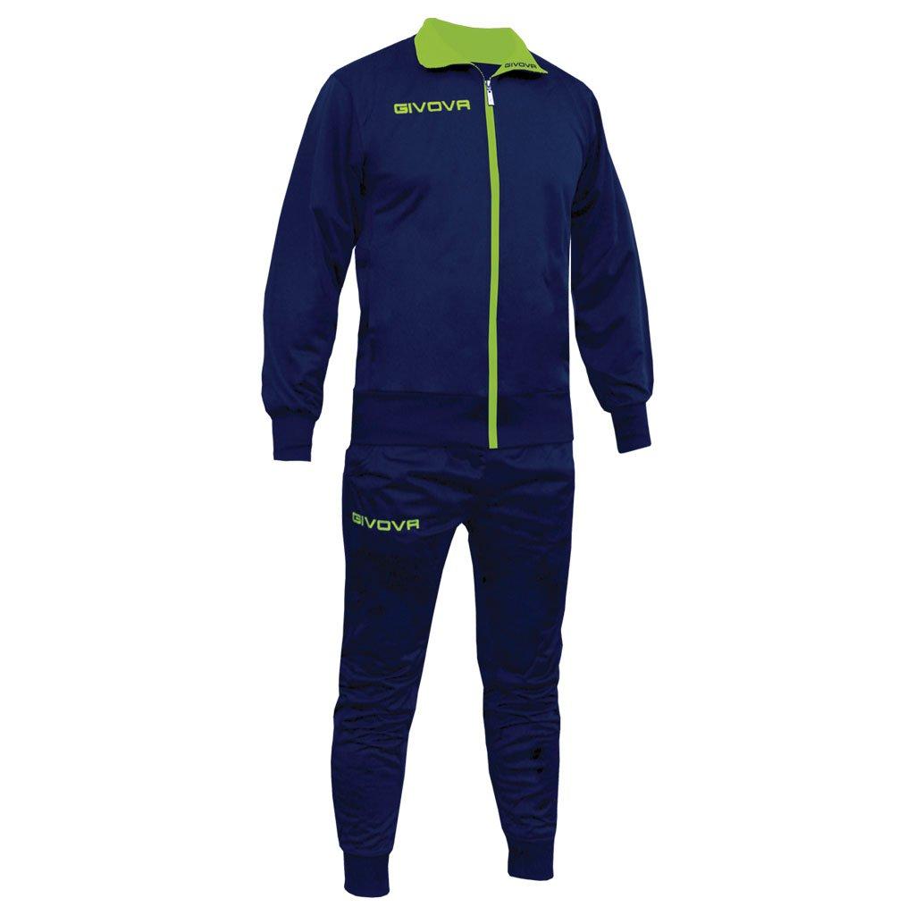 Marchio Givova - modello tuta Torino - completo di giacca con zip manica lunga e pantalone / Home Shop Italia (BLU/GIALLO FLUO, 2XL)
